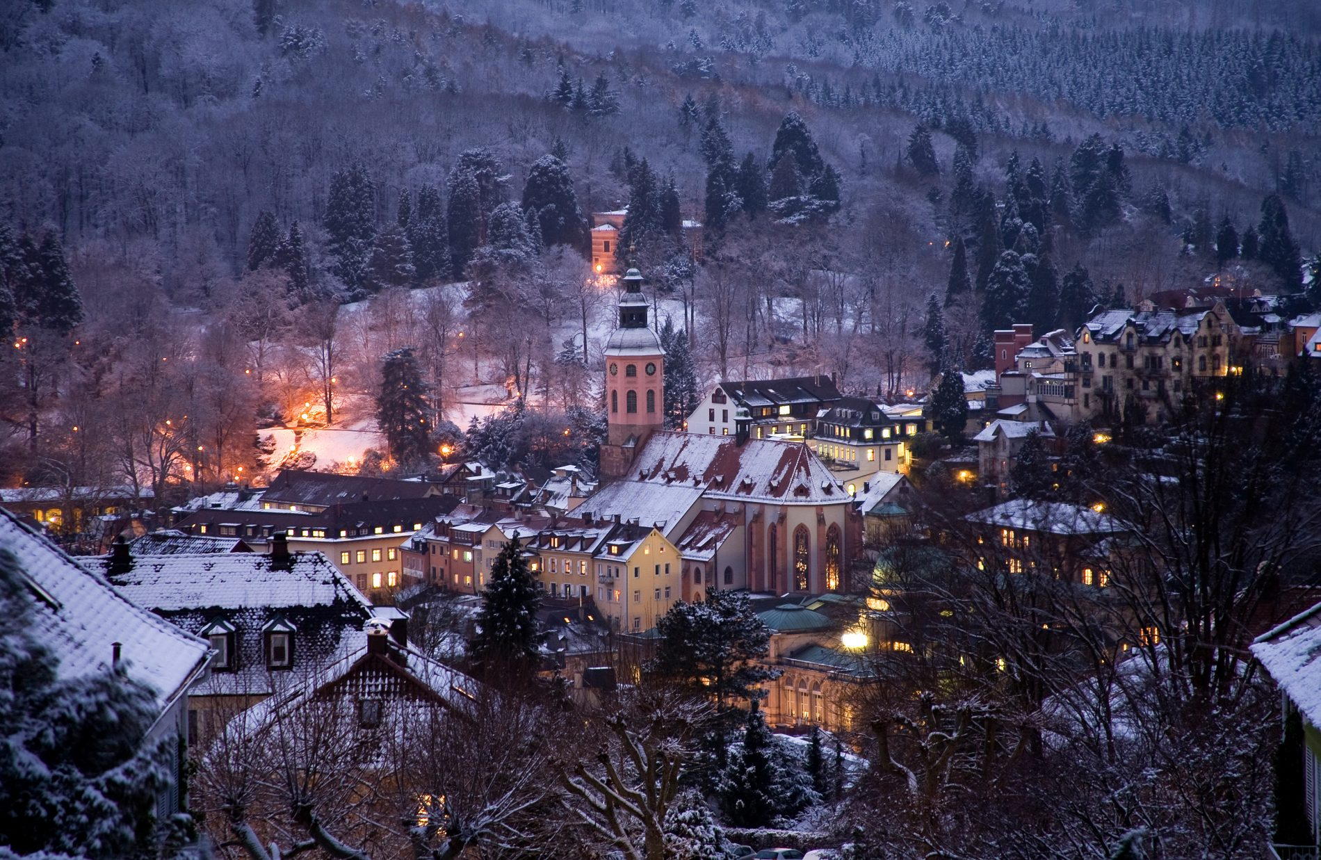 Baden-Baden Germany Winter. The hotel am Sophienpark is centrally located in the beautiful old town of Baden-Baden.